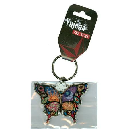Dan Morris - Celestial Day/Night Butterfly Metal Die-Cut Enameled Keychain - 2.5