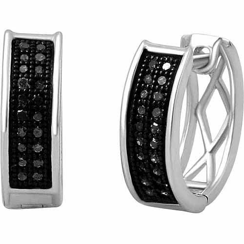 1/6 Carat T.W. Black Diamond 10kt White Gold Hoop Earrings