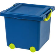 IRIS USA Children's Plastic Toy Storage Box, Blue/Green, 1 Pack
