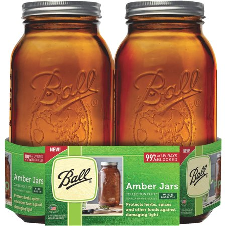 Ball(R) Wide Mouth Canning Jars 2/Pkg-1/2 Gallon Elite Color Series Amber 64oz](Blessings Jar)