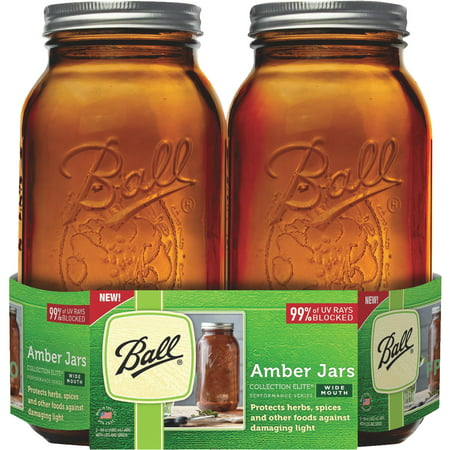 Ball(R) Wide Mouth Canning Jars 2/Pkg-1/2 Gallon Elite Color Series Amber