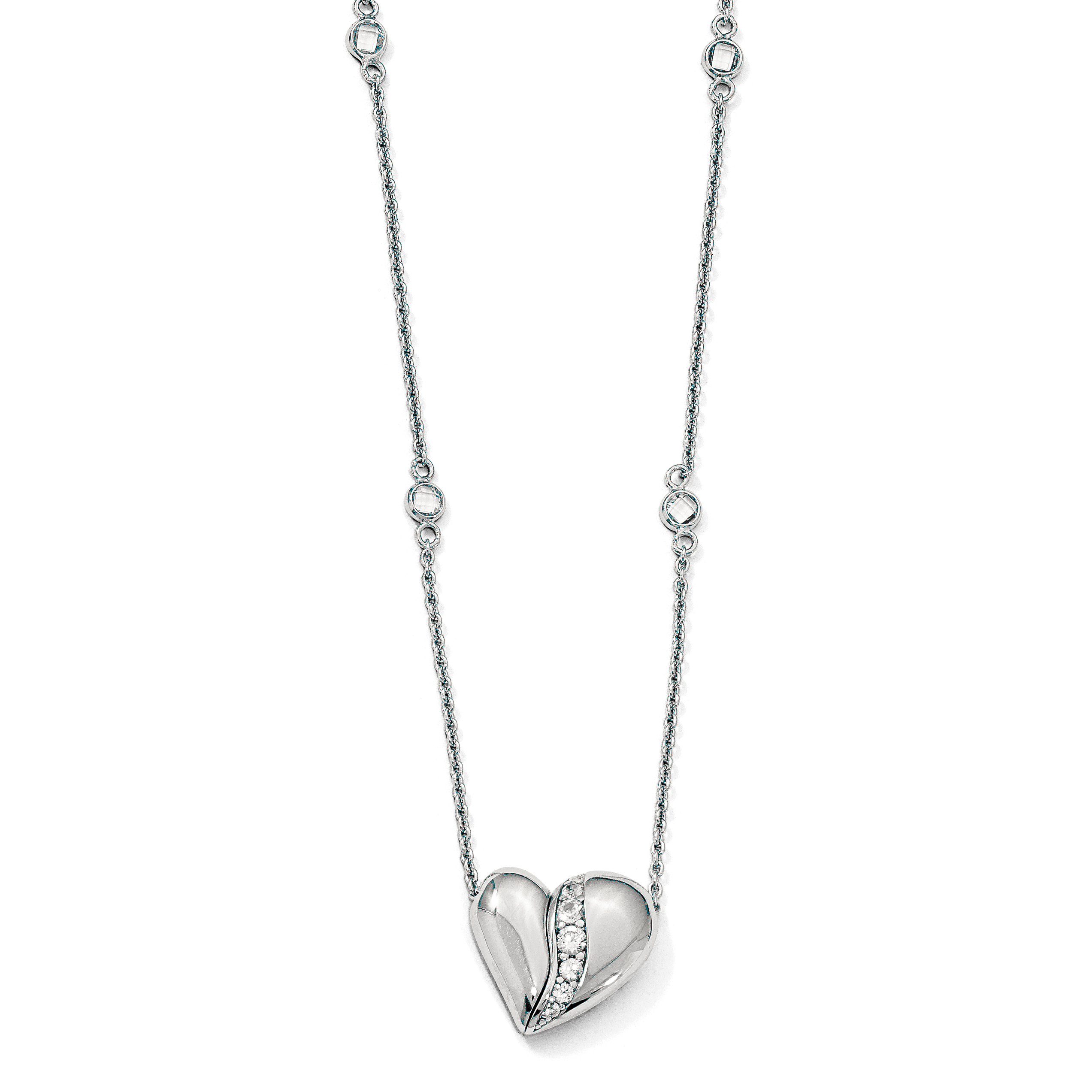 Sterling Silver Polished w Sapphire Magnetic Heart Adjustable Necklace by