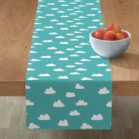 Image of Table Runner Blue Clouds Childrens Aqua Cloud Cloud Cotton Sateen