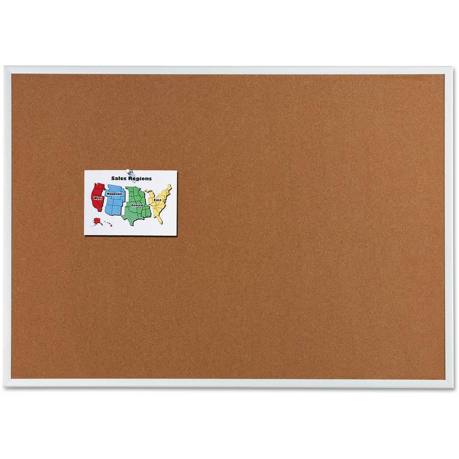 Quartet Cork Bulletin Board, Natural Cork/Fiberboard, 36 x 24, Aluminum Frame