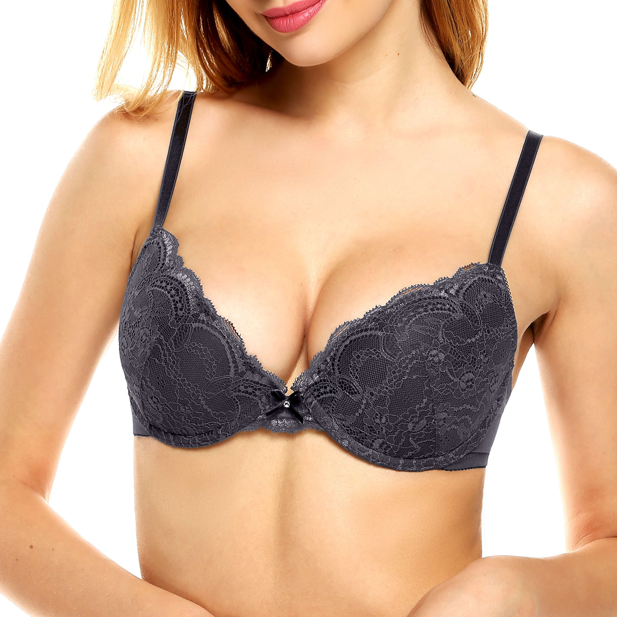 Plus Size Women's Lace Padded Underwire Demi Push Up Bra 32A-36DD