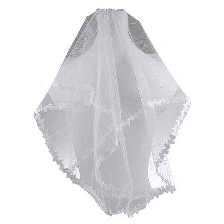 Genie Headpiece Veil (Lux Accessories Bride Bridal Wedding Floral Flower Trimming Veil)