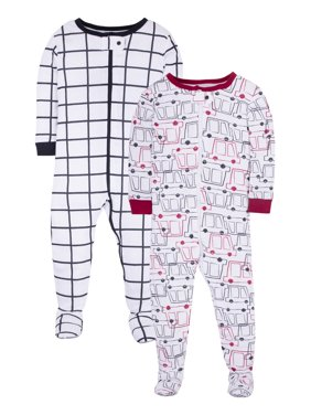 Little Star Organic Baby Toddler Boy Pure Organic Footed Stretchie Pajamas, 2-Pack