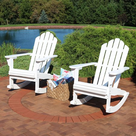 Sensational Sunnydaze Outdoor Wood Adirondack Rocking Chair White Set Of 2 Pdpeps Interior Chair Design Pdpepsorg