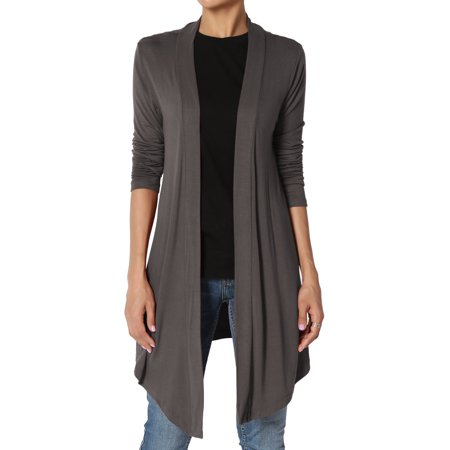- TheMogan Women's PLUS Plain Solid Lightweight Jersey Layering Long Open Cardigan
