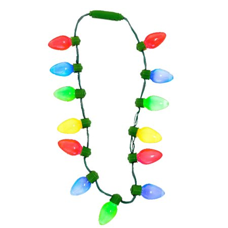 Christmas Light Necklace.16 Large Light Up Christmas Tree Light Bulbs Necklace Costume Accessory