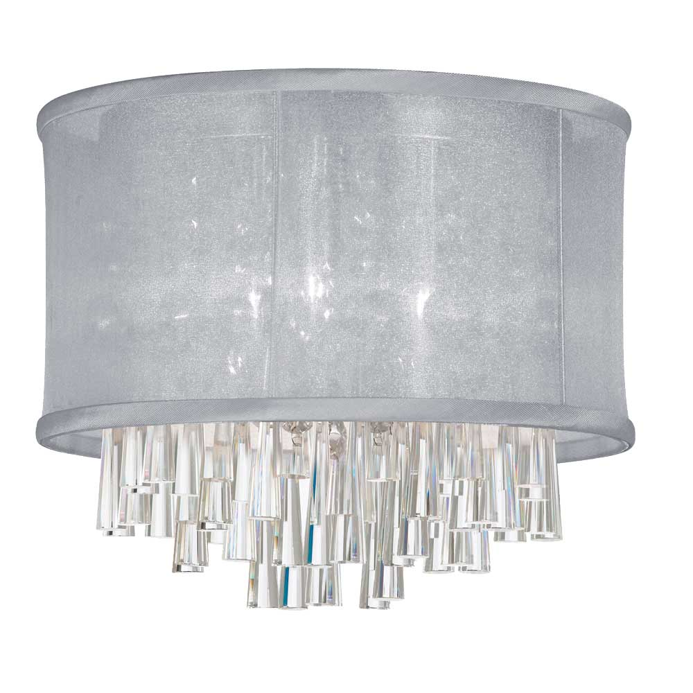 Dainolite 4 Light Crystal Flush Mount - Silver
