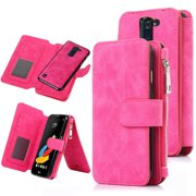LG Stylo 2 Case, LG Stylo 2 Wallet Case, 12 Card Holder, Zipper Cash Change Slot, PU Leather Cover With Detachable Magnetic Hard Phone Case - Pink