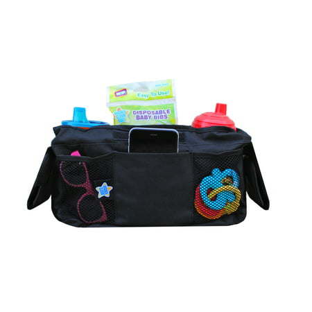 Mighty Clean Baby Stroller Organizer - Fits Most Strollers and Includes Two Deep Insulated Cup Holders to Keep Bottles Warm and Drinks (Stroller Drink Holder)