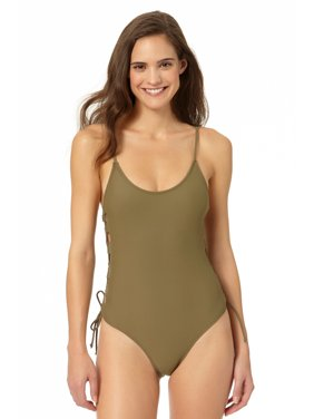 92fd7a9a132b4 Product Image InMocean Juniors Lace Up Side One Piece Swimsuit