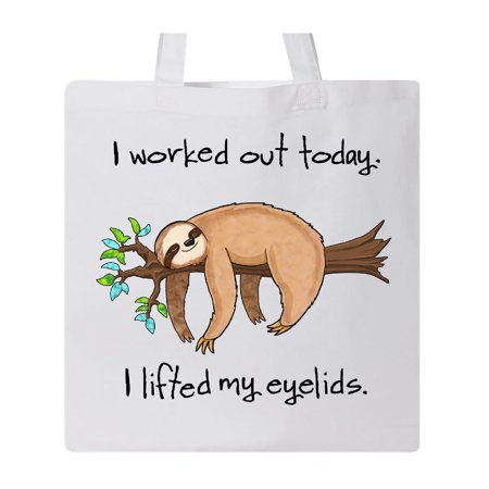Cute Tote Bags (I Worked Out Today. I Lifted My Eyelids- cute sloth on a branch Tote)