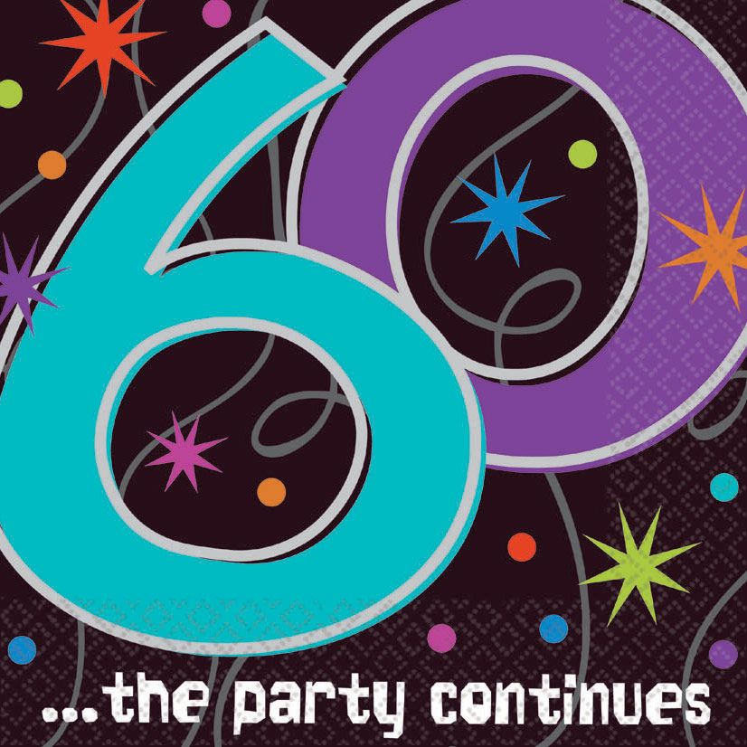 Amscan BB103473 The Party Continues 60Th Birthday Napkins