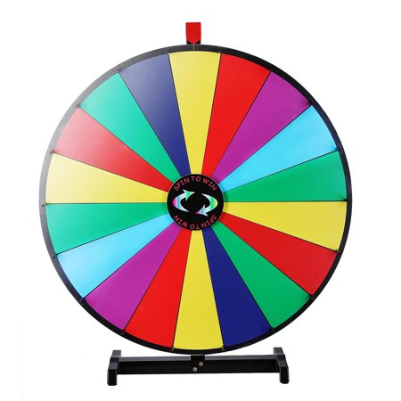 18 Inch Go Game - WinSpin 18 Segment 30 inches Tabletop Colorful Spin Prize Wheel for Fortune Carnival Spin Game DIY Editable