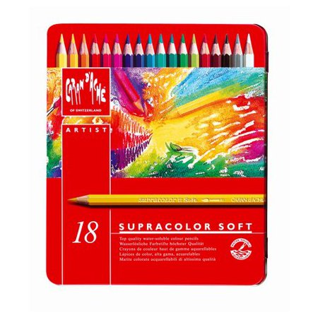 CARAN DACHE/CREATIVE ART 3888318 CARAN DACHE SUPRACOLOR 18 COLOUR PENCIL METAL BOX SET