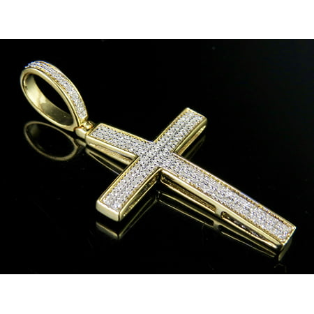 Men's 10K Yellow Gold 2 Rows Genuine Diamond Cross Pendant Charm 1/4 Ct 1.5