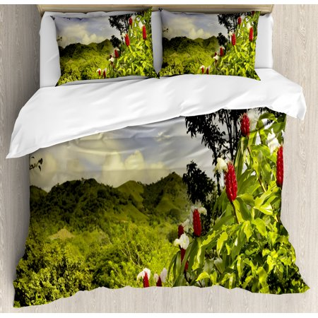 Forest King Size Duvet Cover Set  Rural Scenery Costa Rica Countryside Greenery Tropic Accents Botanical  Decorative 3 Piece Bedding Set With 2 Pillow Shams  Green Red Violet Blue  By Ambesonne