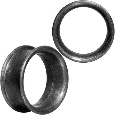 Body Candy Thin Flexible Iridescent Black Silicone Tunnel Plug Set of 2 3/4