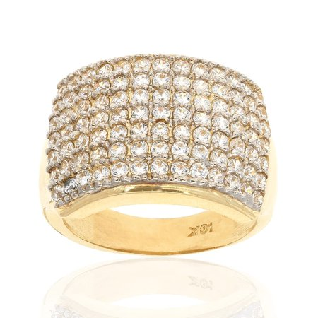 10k Yellow Gold Micro Pave Created Diamond Unisex Signet Ring