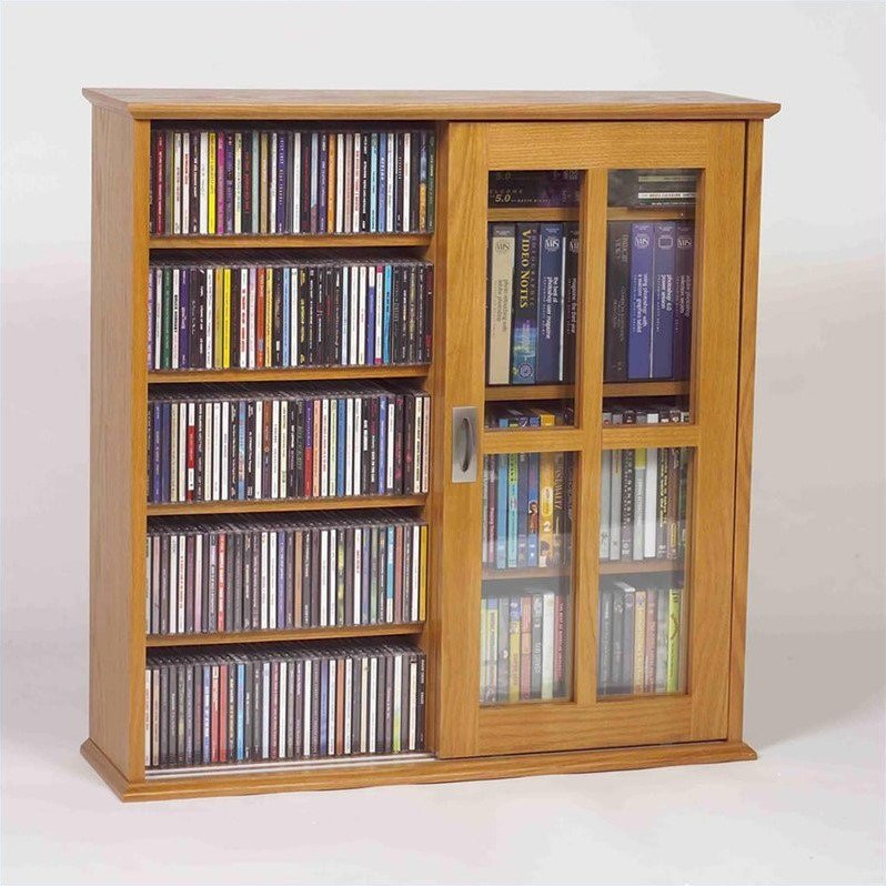 Leslie Dame Sliding Door Wall Hanging Cabinet in Oak