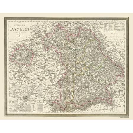 Old Germany Map Bavaria Region Weiland 1856 23 X 28 62