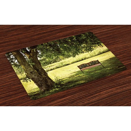 Tree Placemats Set of 4 Wooden Bench under Lush Shady Big Tree in the National Park Fresh Tranquil Scenery, Washable Fabric Place Mats for Dining Room Kitchen Table Decor,Green Brown,