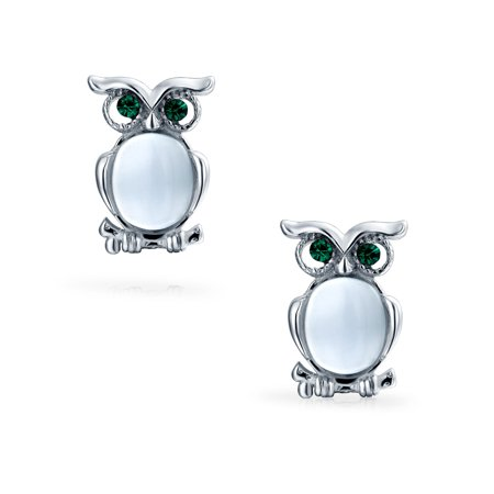 Cat Eye Stone Sitting Owl Bird Small Stud Earrings For Women For Teen 925 Sterling Silver Cat Eye Oval Earrings
