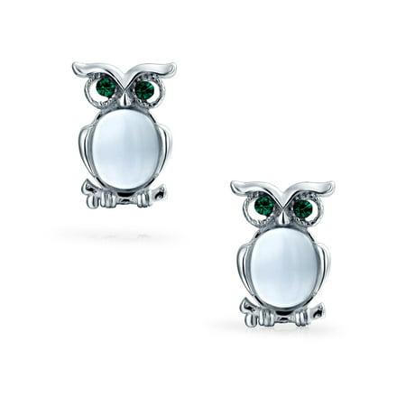 Cat Eye Stone Sitting Owl Bird Small Stud Earrings For Women For Teen 925 Sterling Silver (Cat Eye Stud)