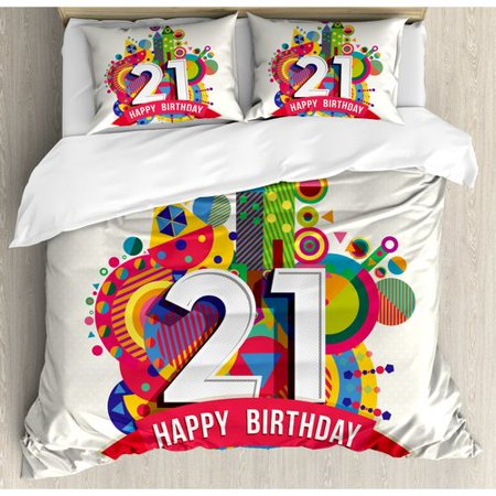 Ambesonne 21st Birthday Decorations Design Happy Image With Geometric Castle Print Duvet Cover Set