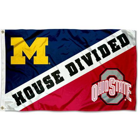 NCAA Ohio State vs. Michigan House Divided 3x5 Flag