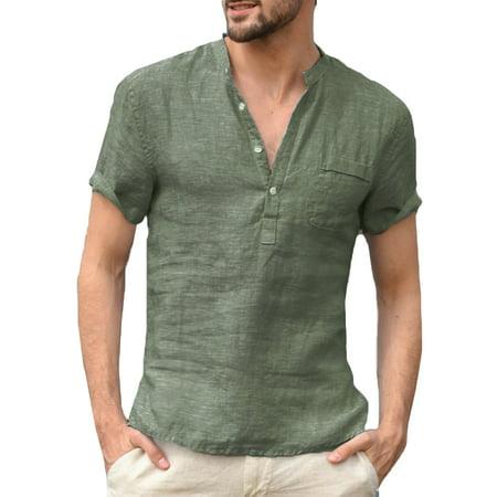 Mens Summer V-Neck Traditional Shirts Linen Short Sleeve Soft Tee Tops
