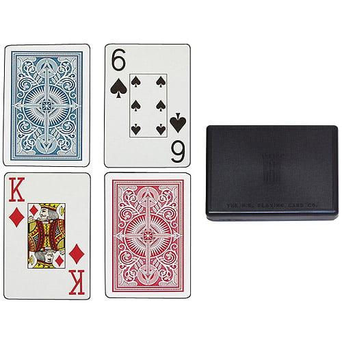 Trademark Poker KEM Arrow Bridge Size Jumbo Index Decks, Red/Blue