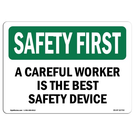 OSHA SAFETY FIRST Sign - Careful Worker Best Safety Bilingual  | Choose from: Aluminum, Rigid Plastic or Vinyl Label Decal | Protect Your Business, Work Site, Warehouse & Shop Area |  Made in the (Best Home Shopping Sites)