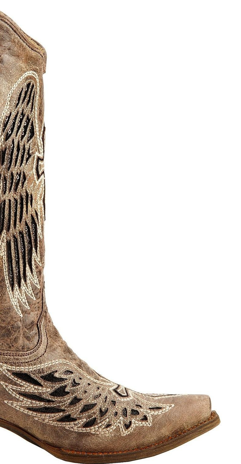 Corral Women's Distressed Sequin Cowgirl Cross And Wing Inlay Cowgirl Sequin Boot Snip Toe - A1241 0189fb