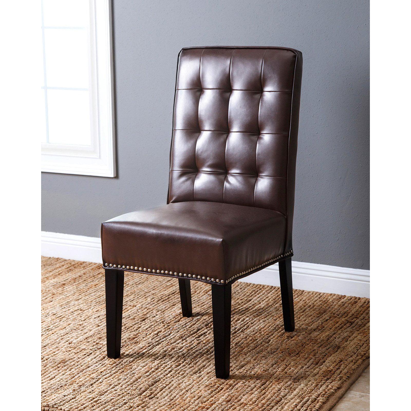 Pleasant Abbyson Fontana Leather And Nailhead Trim Side Dining Chair Ibusinesslaw Wood Chair Design Ideas Ibusinesslaworg