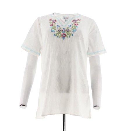 Denim Co Short Slv Embroidered Gauze Peasant Top