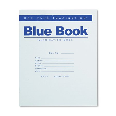Roaring Spring Exam Blue Book  Legal Rule  8 1 2 X 7  White  8 Sheets 16 Pages