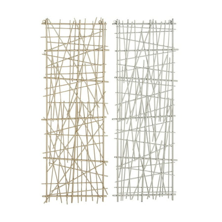 Cosmoliving Large Rectangular Gold Silver Crosshatched Abstract Art Metal Wall Decor Panels Set Of 2 13 X 36 Each