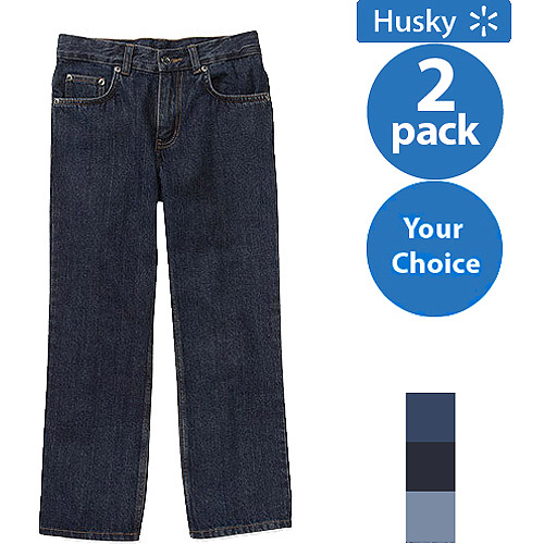 Faded Glory Husky Boys Relaxed Jeans, 2 Pack Value Bundle