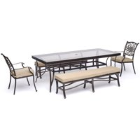 "Hanover Traditions 5-Piece Outdoor Dining Set in Tan with Two Dining Chairs, Two Benches, and a 42"" x 84"" Glass-top Table"