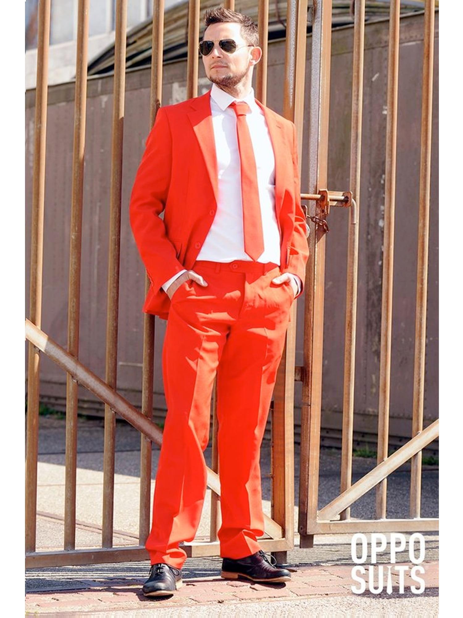 OppoSuits Men's Red Devil Solid Suit