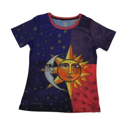 Laurel Burch Celestial Sun and Moon Short Sleeve Ladies