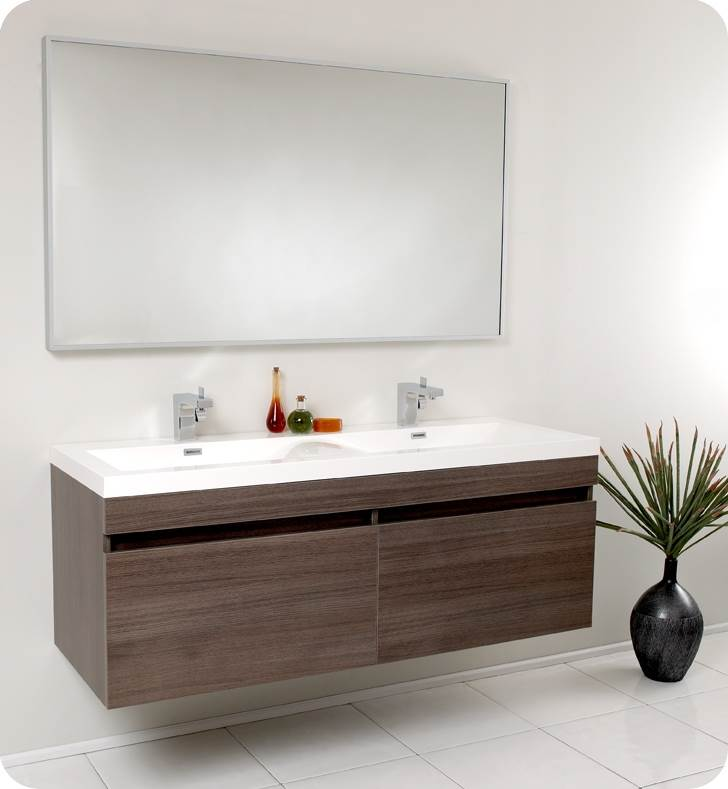 Modern Bathroom Vanity with Wavy Double Sinks (Isarus Chrome)