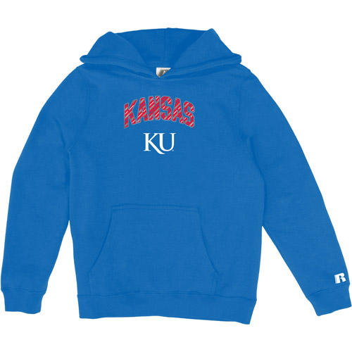 Russell NCAA Kansas Jayhawks, Girls Pullover Hood with Pocket