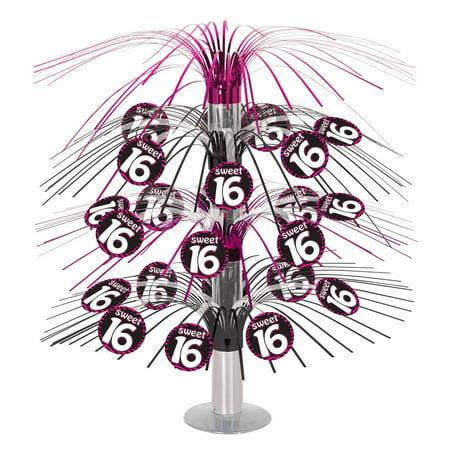 Pack of 6 Black and Pink Metallic Zebra Print Sweet 16 Cascade Table Centerpiece 18