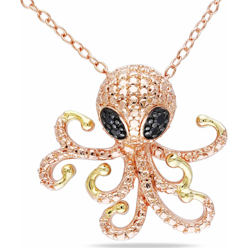 Black Diamond Accent Two-Tone Sterling Silver Octopus Pendant, 18""
