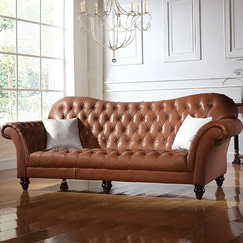 Elegant Darby Home Co Kacper Victorian Leather Sofa